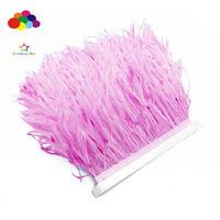 Good 1/5/10 meter Light pink Ostrich Feathers 8-15cm/3-6 inch Fringe Ribbon Trim