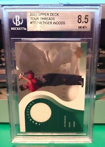 Tiger Woods 2001 UD Tour Threads Shirt Card BGS 8.5 Rookie