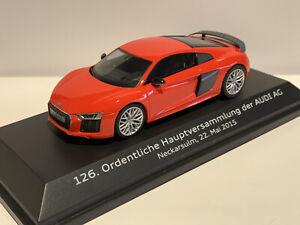 Audi R8 Coupé rot 126. Ordentliche Hauptversammlung 2015 1:43 Modell Box Selten