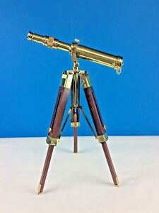 Archimedes Telescope Extendable/Adjustable Tripod Wood Brass 25x15x30 cm New