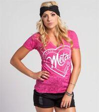 Metal Mulisha Ladies Stamped V-neck Tee Size XL Pink