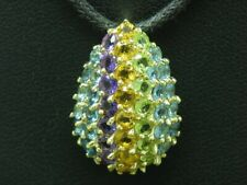 9kt 375 Yellow Gold Pendant with Blue Topaz, Citrine, Amethyst and Olive Trim