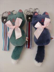 Designer Inspired Plush Cat with Bow and Nylon Web Tag Key Ring/Bag Charm 23cm