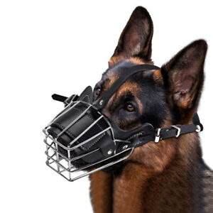 AM_ FM_ STRONG PET DOG MOUTH ADJUSTABLE ANTI-BITE METAL MUZZLE PROTECTION COVER