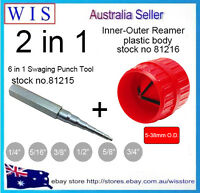 """6 in 1 Swaging Punch Tool for 1/4"""" - 3/4"""" Pipe & Red Inner/Outer Deburring Tool"""