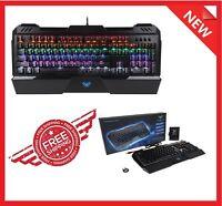 Mechanical LED Illuminated Backlit USB Wired PC Rainbow Gaming Keyboard