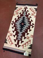 "Vintage native american textile weaving Navajo indian rug 39x19"" Atq Diamond"