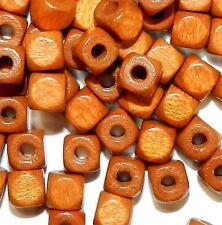 WL762f Medium Warm Brown 5mm Round Square Cube Wood Beads 500pc