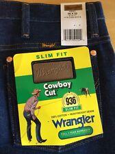 NWT WRANGLER 936DEN Cowboy Cut slim fit rigid raw indigo classic jeans 36x32