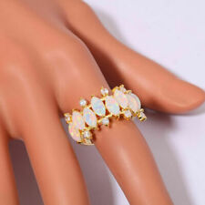 7CT Marquise Cut Fire Opal Diamond Cluster Engagement Ring 14K Yellow Gold Over