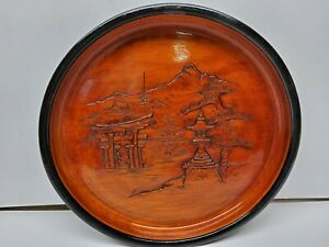 Asian Wood Carved Bowl Japanese Nature Temple Scene (Possible) Signed on Back