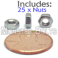 M3-0.5 / 3mm - Qty 25 - Metric HEX NUTS DIN 934 A2 Stainless Steel Coarse Thread