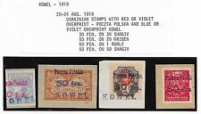 Poland/KOWEL stamps 1919 4 Ukrainean stamps ovpt Poszta Polska/KOWEL