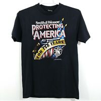 Vintage 1992 3D Emblem Smith & Wesson Protecting America for 140 Years T-Shirt