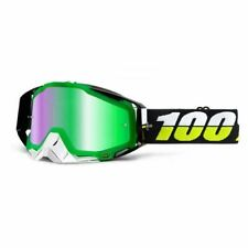 100% OCCHIALI MASCHERA RACECRAFT SIMBAD MIRROR GREEN LENS CROSS ENDURO QUAD