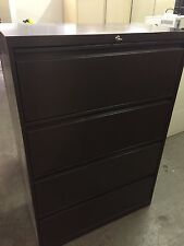 """4Dr 36""""W LATERAL SIZE FILE CABINET in BROWN COLOR w/ LOCK & KEY * Pick Up Only *"""