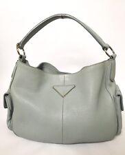 7289ce1f9de Prada Baby Blue Gray Pebbled Leather Hobo Handsbag Purse Italy Shoulder Bag