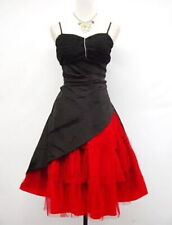 BLACK AND RED STRAPPY SATIN DRESS DIAMANTE TULLE SKIRT BY CHERLONE SIZE 18