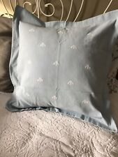 Restoration Hardware Embroidered Bee Pillow Sham Euro 28 x26 Blue Made in Italy