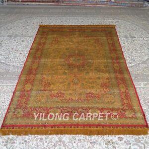 Yilong 5'x8' Handwoven Silk Carpet Gold Antique Living Room Indoor Rug MC331B