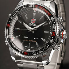 SHARK LED Digital Quartz Silver Black Date Day Stainless Steel Mens Sport Watch
