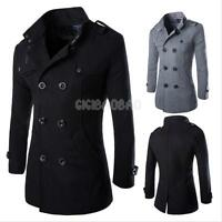 Fashion Classic Men's Wool Coat Double Breasted Long Jacket Winter Formal Caot