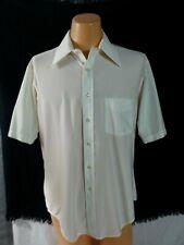 Vtg Andhurst Custom Shirt Off White Nylon Button Front Short Slv Disco Hipster L