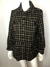 Daytrip Womens sz L Large Plaid Wool blend Coat Blazer Career Brown/Black Jacket
