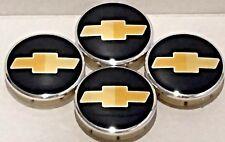 "4 pcs, Chevy Black Yellow Logo 63 MM / 2.48"", Wheel Center Cap Fit: Sonic Camaro"
