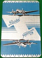 Playing Cards Single Card Old Art Deco BRISTOL Aircraft PLANE Advertising silver