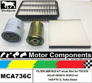 FILTER KIT for TOYOTA HILUX KDN215 1KD-FTV 3L Turbo Diesel 11/02>8/05