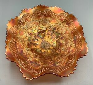 """CARNIVAL FENTON MARIGOLD TWO FLOWERS LARGE RUFFLED FOOTED BOWL """"NICE COLOR"""""""