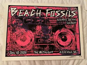 BEACH FOSSILS PRISON ART CONCERT POSTER MOTHLIGHT ASHEVILLE NC SCREEN PRINT