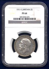 G.B./ENGLAND  GEORGE V  1911  1 FLORIN PROOF SILVER COIN NGC CERTIFIED PF 64