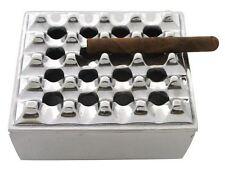 """Cigar Ashtray Polished Metal 7"""" Square Grid"""
