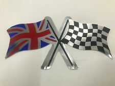 Union Jack Chequered Flag Double Sticker