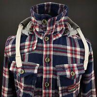 Superdry Mens THICK HEAVY Shirt Hooded MEDIUM Long Sleeve Blue Slim Fit Check