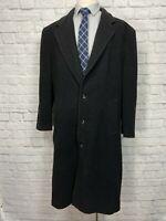 STAFFORD Men's Charcoal Black Wool Blend Overcoat Size 44L
