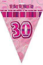 Glitz Pink 30th Birthday Bunting Flag Decoration Banner 3.65m (12')   .55294