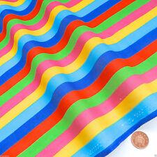 "Tessuto in Policotone a righe arcobaleno Verde giallo blu 44"" ampio 112cm per metro"