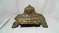 ANTIQUE DEPOSE ART NOUVEAU BRASS INKWELL WITH POT