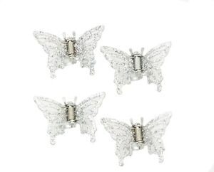 Set of 4 Butterfly Metal Hair Claw Clips Silver Tone with  Sparkly Glitter Top