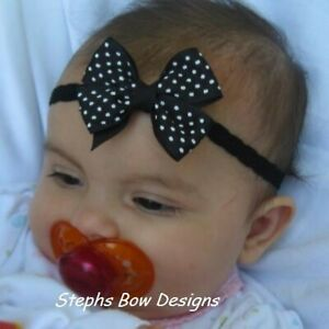 Black w/ White Dots Dainty Hair Bow Headband 4 Preemie Newborn Toddler Halloween