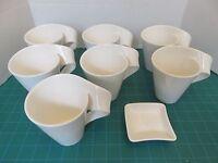 Villeroy and Boch (7) Wave Coffee mug Caffe Cappuccino Cup  8 1/2 oz w/ Dish Lot