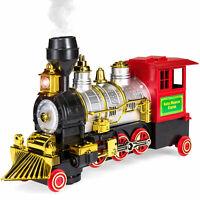 BCP Bump-and-Go Electric Toy Train Locomotive w/ Headlights, Horn, Smoke - Multi