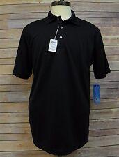 PGA Tour Mens Short Sleeve Dry Wick Solid Golf Polo Shirt Caviar Black S CG233