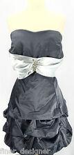 NWT Ruby Rox charcoal silver rhinestone prom evening cocktail sexy dress SZ 18