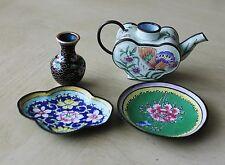 Vintage Asian Chinese Floral Cloisonne Small Plates Dishes Mini Vase Tea Pot 4Pc