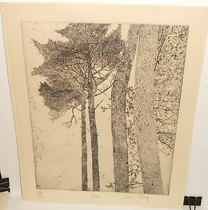 """JAN BERG """"PINE"""" LIMITED EDITION HAND SIGNED ETCHING"""