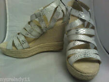NIB $175 DKNY Kendra Silver Leather Snake Look Wedge Platform Sandal Size 8